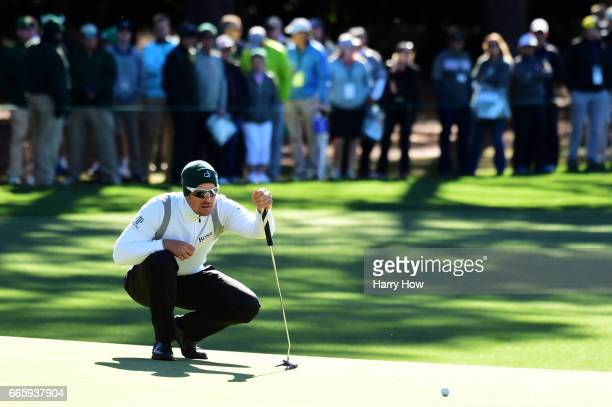 Henrik Stenson of Sweden lines up a putt on the first hole during the second round of the 2017 Masters Tournament at Augusta National Golf Club on...