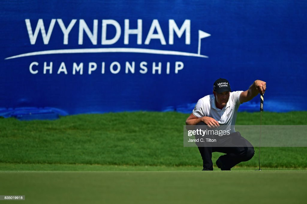 Henrik Stenson of Sweden lines up his par putt on the 18th green during the second round of the Wyndham Championship at Sedgefield Country Club on August 18, 2017 in Greensboro, North Carolina.