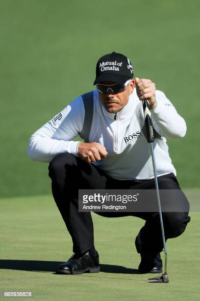 Henrik Stenson of Sweden lines up his putt on the second hole during the second round of the 2017 Masters Tournament at Augusta National Golf Club on...