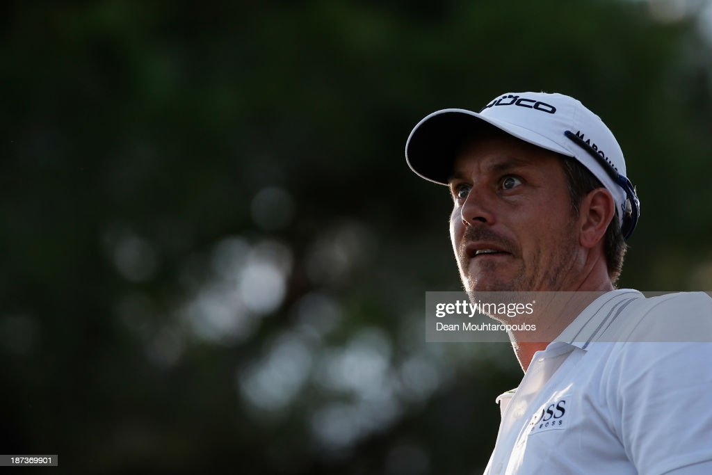 Henrik Stenson of Sweden looks on after he hits his tee shot the 16th hole during the second round of the Turkish Airlines Open at The Montgomerie Maxx Royal Course on November 8, 2013 in Antalya, Turkey.