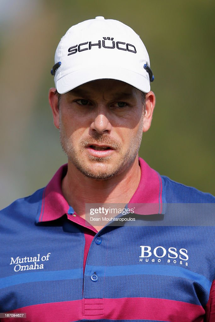 Henrik Stenson of Sweden looks on after he putts on the 2nd green during the pro-am as a preview for the Turkish Airlines Open at Montgomerie Maxx Royal Course on November 6, 2013 in Antalya, Turkey.