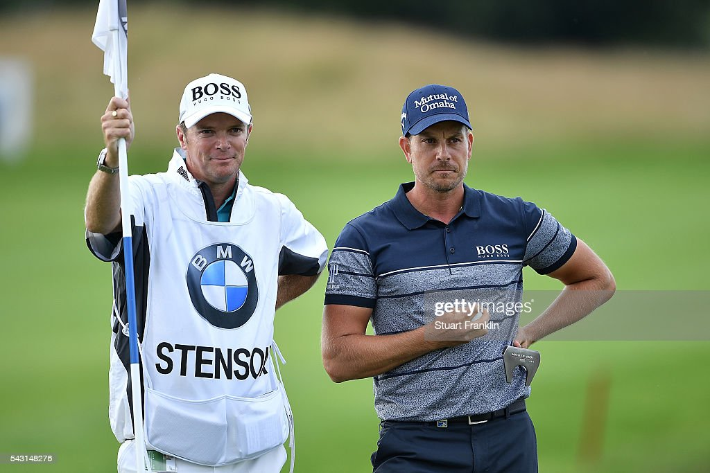 <a gi-track='captionPersonalityLinkClicked' href=/galleries/search?phrase=Henrik+Stenson&family=editorial&specificpeople=211537 ng-click='$event.stopPropagation()'>Henrik Stenson</a> of Sweden looks on with caddie Gareth Lord on the 18th green during the final round of the BMW International Open at Gut Larchenhof on June 26, 2016 in Cologne, Germany.