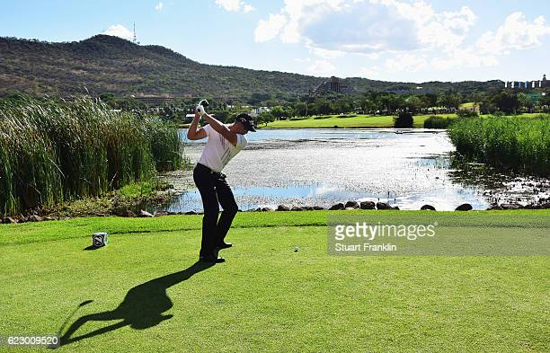 Henrik Stenson of Sweden plays a shot during the final round of The Nedbank Golf Challenge at Gary Player CC on November 13 2016 in Sun City South...