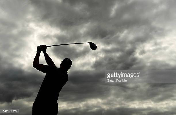 Henrik Stenson of Sweden plays a shot during the Pro Am event prior to the start of the BMW International Open at Gut Larchenhof on June 22 2016 in...