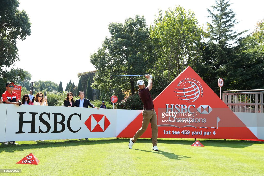 Henrik Stenson of Sweden plays a shot during the pro-am prior to the WGC - HSBC Champions at Sheshan International Golf Club on October 25, 2017 in Shanghai, China.