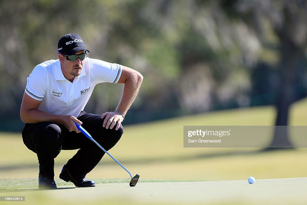 <a gi-track='captionPersonalityLinkClicked' href=/galleries/search?phrase=Henrik+Stenson&family=editorial&specificpeople=211537 ng-click='$event.stopPropagation()'>Henrik Stenson</a> of Sweden plays a shot during the third round of the Children's Miracle Network Hospitals Classic at the Disney Magnolia course on November 10, 2012 in Lake Buena Vista, Florida.
