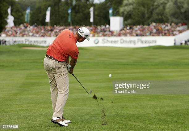 Henrik Stenson of Sweden plays his approach shot on the 18th hole during the playoff during the final round of The BMW International Open Golf at The...