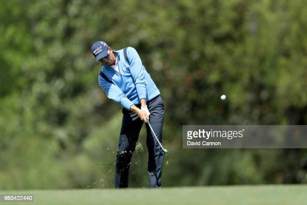 Henrik Stenson of Sweden plays his second shot on the fifth hole during the first round of the 2017 Masters Tournament at Augusta National Golf Club...
