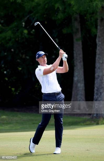 Henrik Stenson of Sweden plays his shot during the first round of the Zurich Classic at TPC Louisiana on April 27 2017 in Avondale Louisiana