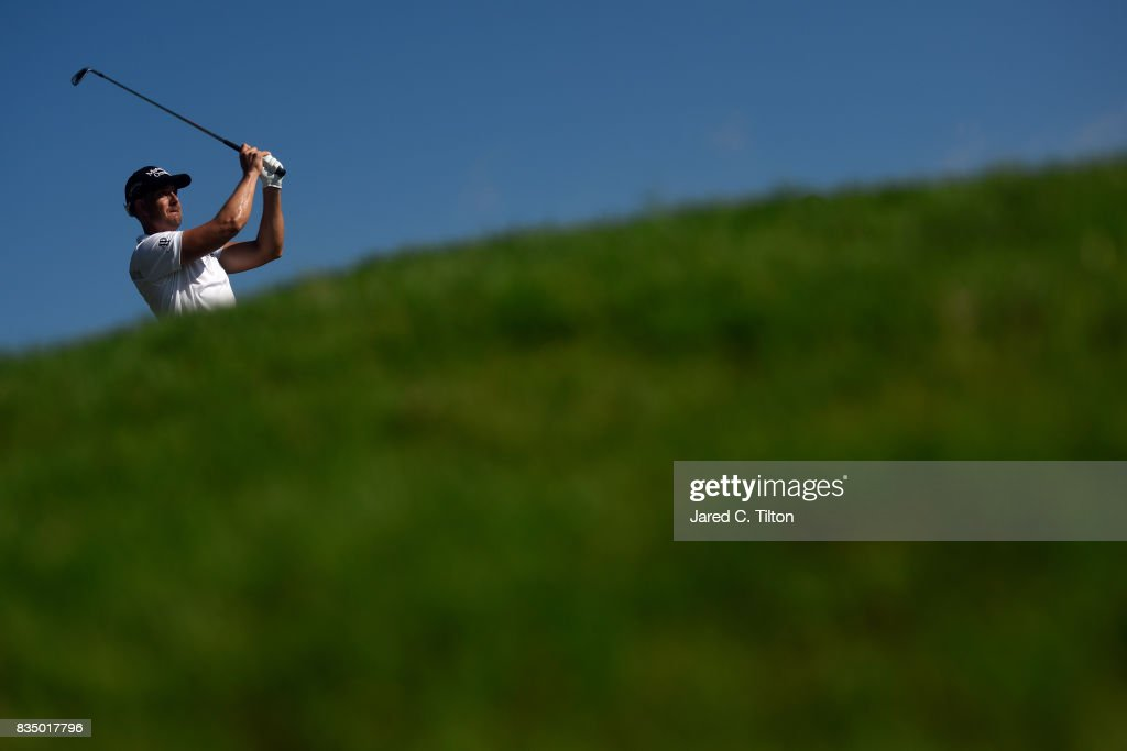 Henrik Stenson of Sweden plays his tee shot on the 16th hole during the second round of the Wyndham Championship at Sedgefield Country Club on August 18, 2017 in Greensboro, North Carolina.