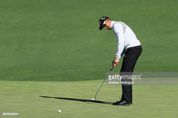 Henrik Stenson of Sweden putts on the second hole during the second round of the 2017 Masters Tournament at Augusta National Golf Club on April 7...