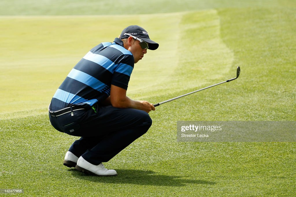 <a gi-track='captionPersonalityLinkClicked' href=/galleries/search?phrase=Henrik+Stenson&family=editorial&specificpeople=211537 ng-click='$event.stopPropagation()'>Henrik Stenson</a> of Sweden reacts after missing a chip shot for par on the 14th hole during the first round of the 2012 Masters Tournament at Augusta National Golf Club on April 5, 2012 in Augusta, Georgia.