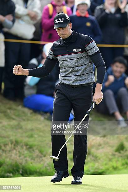 Henrik Stenson of Sweden reacts on the 14th green during the final round on day four of the 145th Open Championship at Royal Troon on July 17 2016 in...