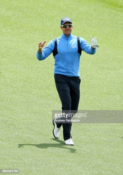 Henrik Stenson of Sweden reacts on the first hole during the first round of the 2017 Masters Tournament at Augusta National Golf Club on April 6 2017...