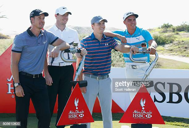 Henrik Stenson of Sweden Rory McIlroy of Northern Ireland Jordan Spieth and Rickie Fowler of the United States pose on Golfboards during a photocall...