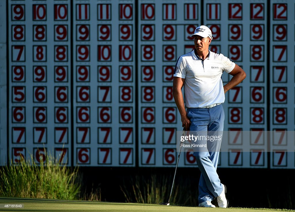 Henrik Stenson of Sweden stands on the 18th green during round three of the Deutsche Bank Championship at TPC Boston on September 6 2015 in Norton...