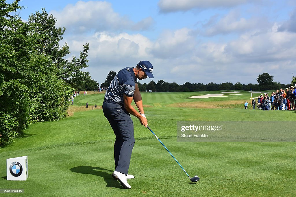 <a gi-track='captionPersonalityLinkClicked' href=/galleries/search?phrase=Henrik+Stenson&family=editorial&specificpeople=211537 ng-click='$event.stopPropagation()'>Henrik Stenson</a> of Sweden tees off during the rain delayed third round of the BMW International Open at Gut Larchenhof on June 26, 2016 in Cologne, Germany.