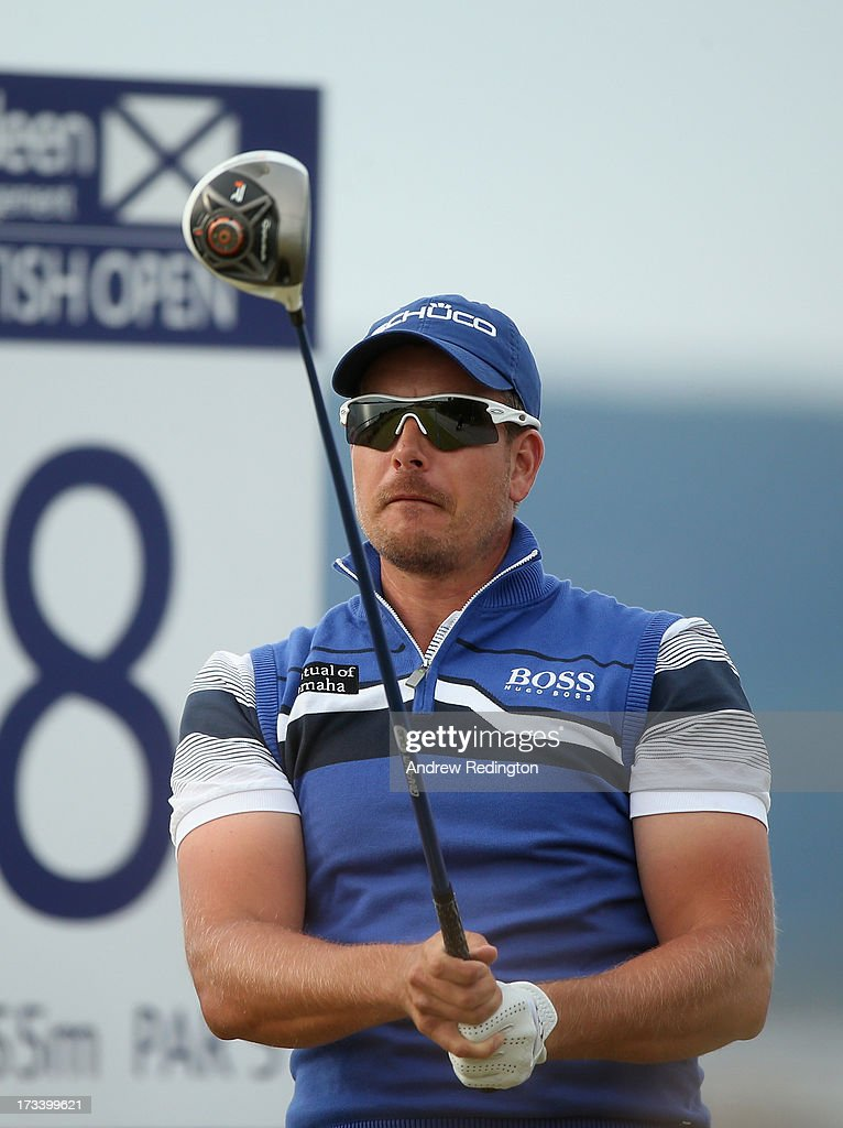 <a gi-track='captionPersonalityLinkClicked' href=/galleries/search?phrase=Henrik+Stenson&family=editorial&specificpeople=211537 ng-click='$event.stopPropagation()'>Henrik Stenson</a> of Sweden tees off on the 18th hole during the third round of the Aberdeen Asset Management Scottish Open at Castle Stuart Golf Links on July 13, 2013 in Inverness, Scotland.