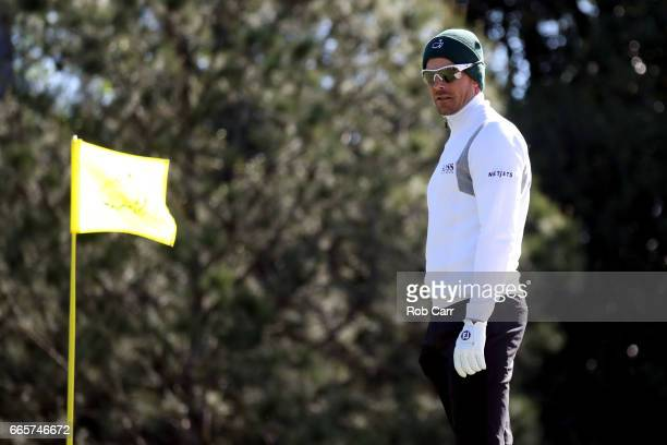 Henrik Stenson of Sweden waits on the first green during the second round of the 2017 Masters Tournament at Augusta National Golf Club on April 7...