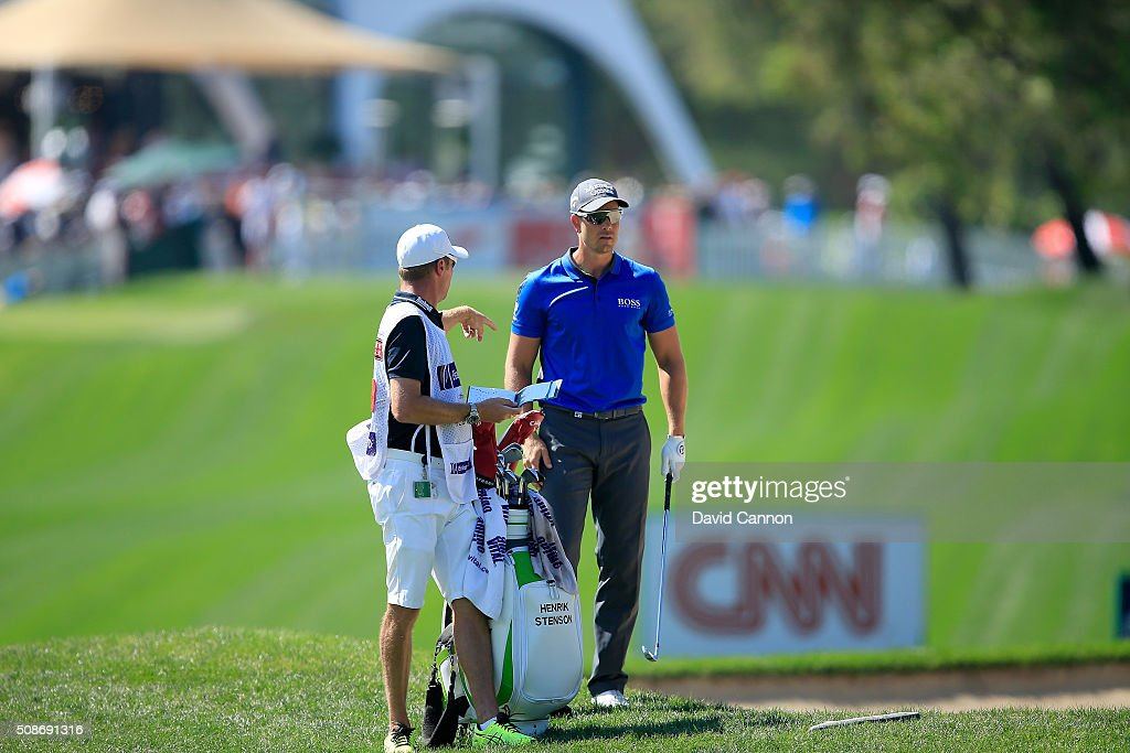 <a gi-track='captionPersonalityLinkClicked' href=/galleries/search?phrase=Henrik+Stenson&family=editorial&specificpeople=211537 ng-click='$event.stopPropagation()'>Henrik Stenson</a> of Sweden waits to play his second shot at the par 4, first hole during the third round of the 2016 Omega Dubai Desert Classic on the Majlis Course at the Emirates Golf Club on February 6, 2016 in Dubai, United Arab Emirates.