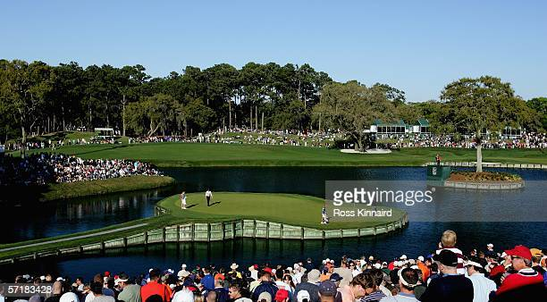 Henrik Stenson of Sweden walks along the green of the par three 17th hole during the third round of The Players Championship on the Stadium Course at...