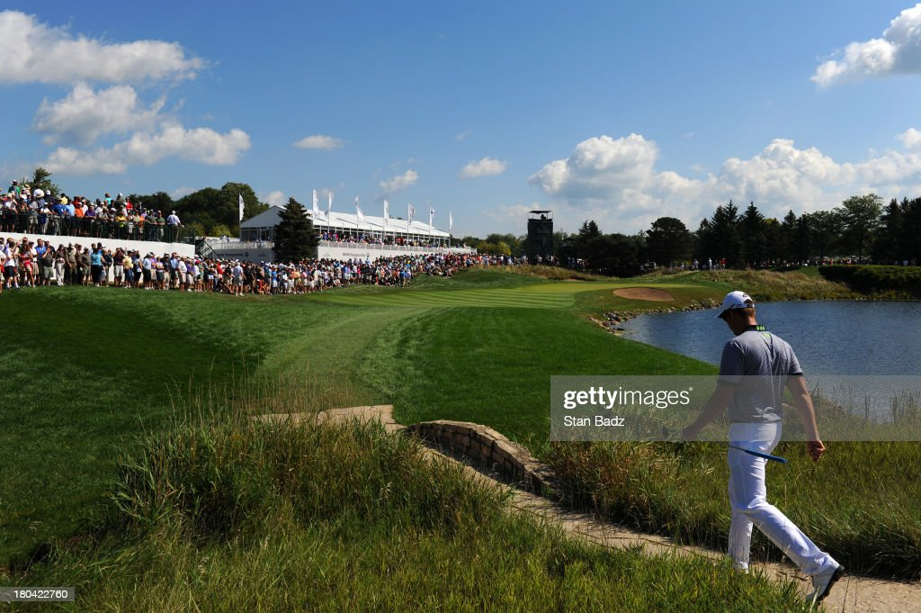 Henrik Stenson of Sweden walks to the 11th hole during the first round of the BMW Championship at Conway Farms Golf Club on September 12, 2013 in Lake Forest, Illinois.