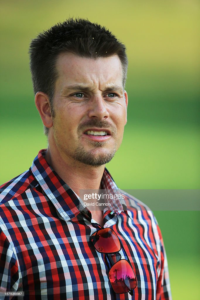 Henrik Stenson of Sweden watching the young players during the pro-am as a preview for the 2012 Omega Dubai Ladies Masters on the Majilis Course at the Emirates Golf Club on December 4, 2012 in Dubai, United Arab Emirates.