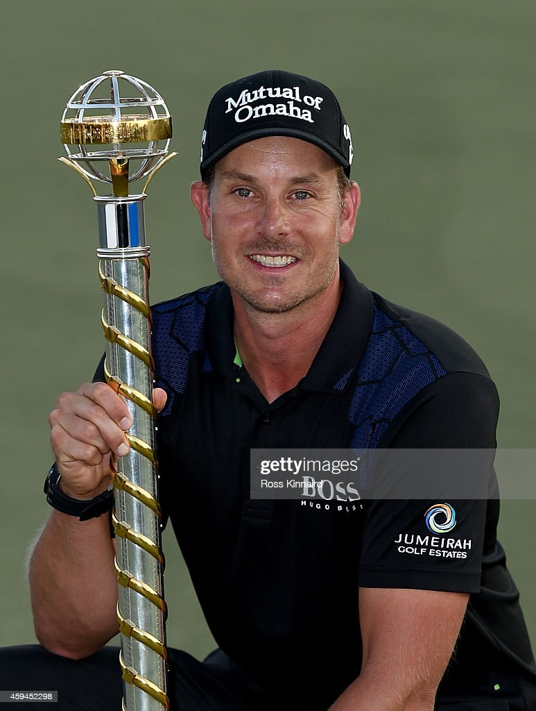 <a gi-track='captionPersonalityLinkClicked' href=/galleries/search?phrase=Henrik+Stenson&family=editorial&specificpeople=211537 ng-click='$event.stopPropagation()'>Henrik Stenson</a> of Sweden with the DP World Tour Championship trophy after the final round of the DP World Tour Championship at Jumeirah Golf Estates on November 23, 2014 in Dubai, United Arab Emirates.