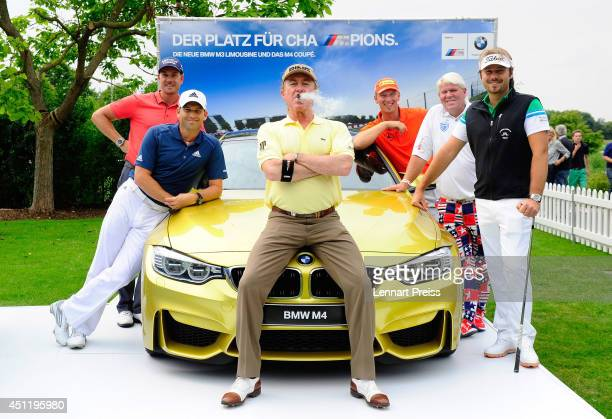 Henrik Stenson Sergio Garcia Miguel Angel Jimenez Marcel Siem John Daly and Victor Dubuisson line up for the media during the Opening Show of the BMW...