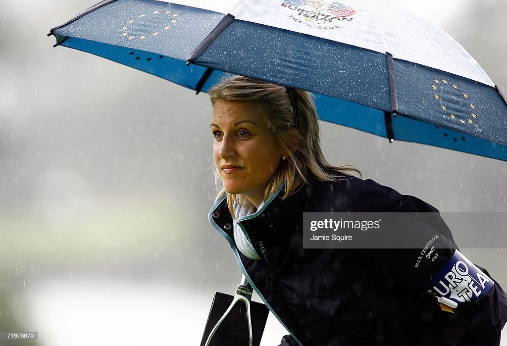 Henrik Stenson's girlfriend Emma Lofgren watches the action during the morning fourballs on the second day of the 2006 Ryder Cup at The K Club on September 23, 2006 in Straffan, Co. Kildare, Ireland.
