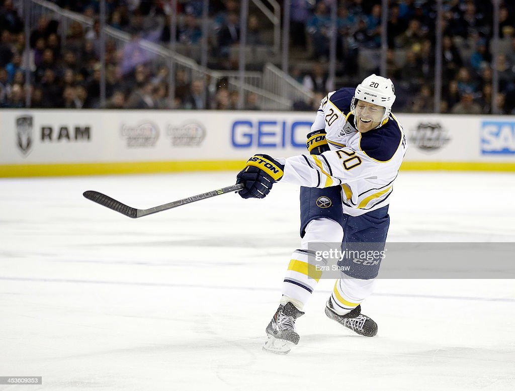 <a gi-track='captionPersonalityLinkClicked' href=/galleries/search?phrase=Henrik+Tallinder&family=editorial&specificpeople=204661 ng-click='$event.stopPropagation()'>Henrik Tallinder</a> #20 of the Buffalo Sabres in action against the San Jose Sharks at SAP Center on November 5, 2013 in San Jose, California.