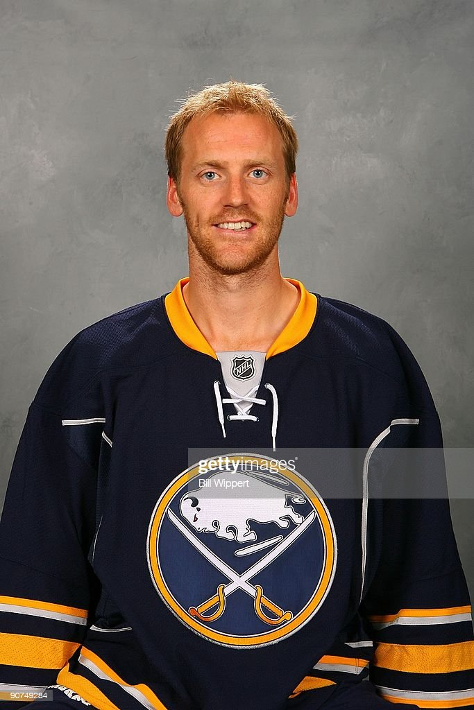 Henrik Tallinder of the Buffalo Sabres poses for his official headshot for the 20092010 NHL season