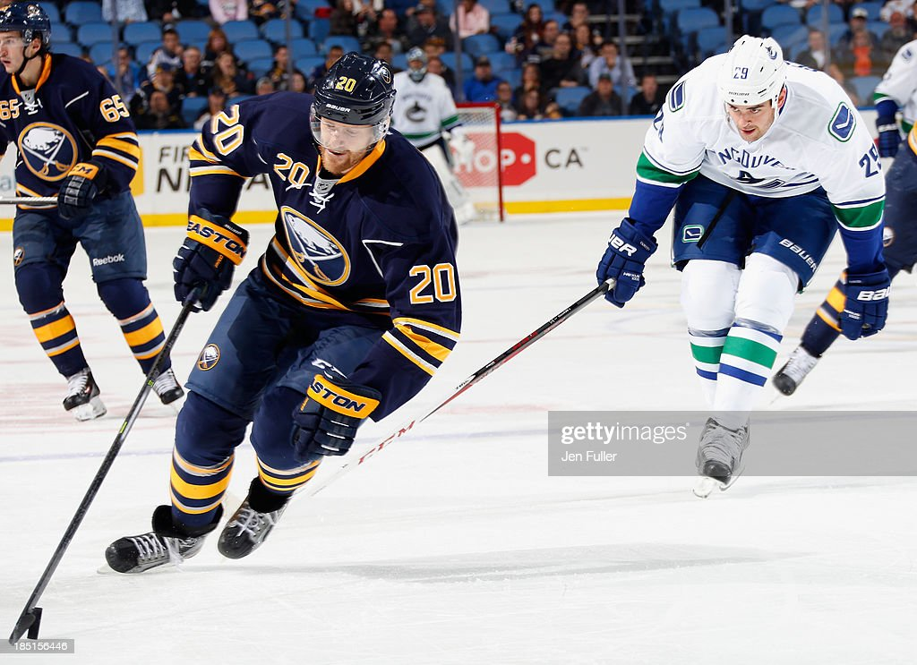 <a gi-track='captionPersonalityLinkClicked' href=/galleries/search?phrase=Henrik+Tallinder&family=editorial&specificpeople=204661 ng-click='$event.stopPropagation()'>Henrik Tallinder</a> #20 of the Buffalo Sabres skates with the puck against <a gi-track='captionPersonalityLinkClicked' href=/galleries/search?phrase=Tom+Sestito&family=editorial&specificpeople=4067117 ng-click='$event.stopPropagation()'>Tom Sestito</a> #29 of the Vancouver Canucks at First Niagara Center on October 17, 2013 in Buffalo, New York. Vancouver defeated Buffalo 3-0.