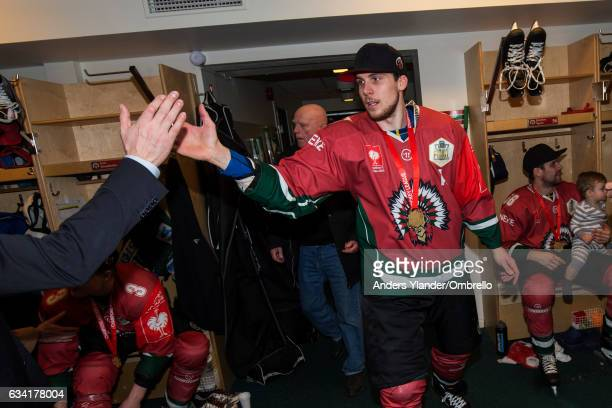 Henrik Tommernes celebrates after winning the Champions Hockey League Final between Frolunda Gothenburg and Sparta Prague at Frolundaborgs Isstadion...