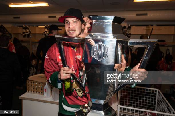 Henrik Tommernes celebrates with the trophy after winning the Champions Hockey League Final between Frolunda Gothenburg and Sparta Prague at...