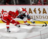 Henrik Zetterberg of the Detroit Red Wings and Stephen Weiss of the Florida Panthers battle for the puck along the sideboards during a NHL game at...