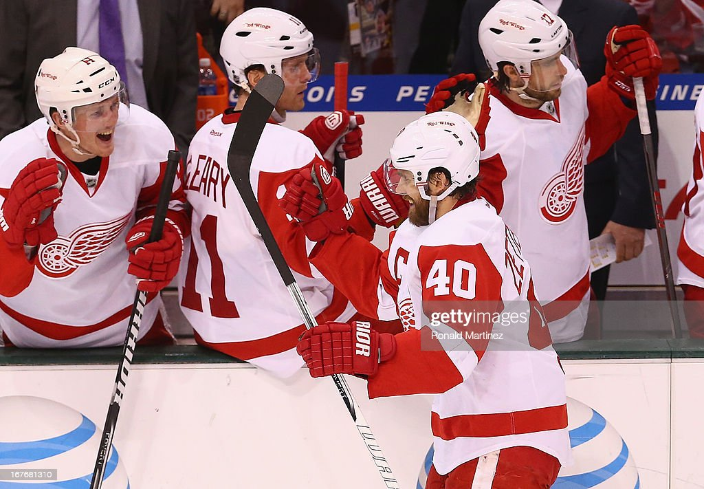 <a gi-track='captionPersonalityLinkClicked' href=/galleries/search?phrase=Henrik+Zetterberg&family=editorial&specificpeople=201520 ng-click='$event.stopPropagation()'>Henrik Zetterberg</a> #40 of the Detroit Red Wings celebrates a goal against the Dallas Stars at American Airlines Center on April 27, 2013 in Dallas, Texas.