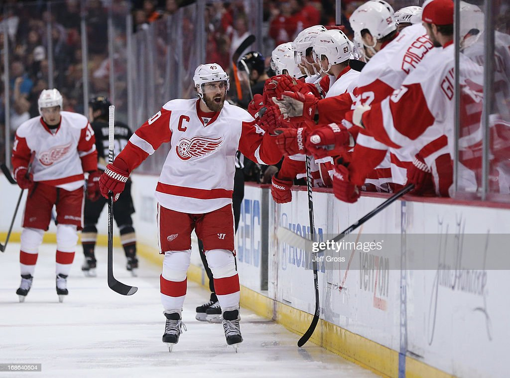 <a gi-track='captionPersonalityLinkClicked' href=/galleries/search?phrase=Henrik+Zetterberg&family=editorial&specificpeople=201520 ng-click='$event.stopPropagation()'>Henrik Zetterberg</a> #40 of the Detroit Red Wings celebrates a goal in the first period against the Anaheim Ducks in Game Seven of the Western Conference Quarterfinals during the 2013 NHL Stanley Cup Playoffs at Honda Center on May 12, 2013 in Anaheim, California. The Red Wings defeated the Ducks 3-2.