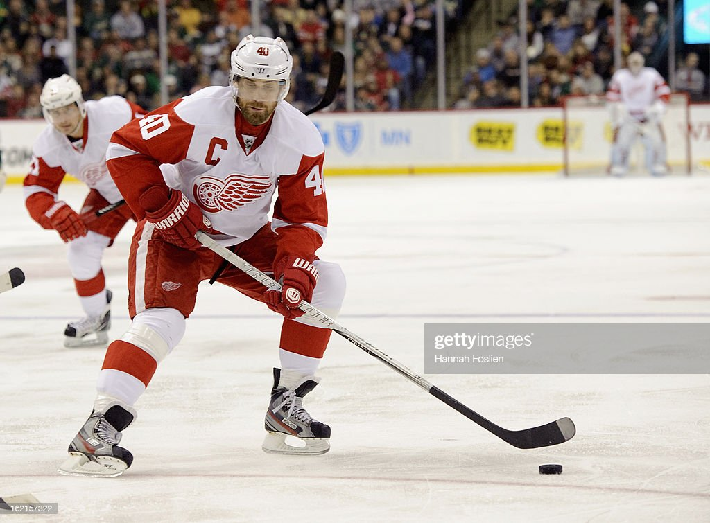 Henrik Zetterberg #40 of the Detroit Red Wings controls the puck during the game against the Minnesota Wild on February 17, 2013 at Xcel Energy Center in St Paul, Minnesota.
