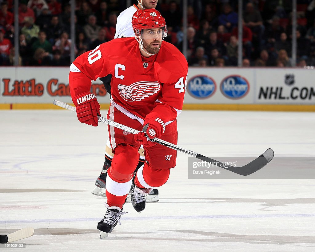 Henrik Zetterberg #40 of the Detroit Red Wings follows the play during a game against the Anaheim Ducks on February 15, 2013 at Joe Louis Arena in Detroit, Michigan. Anaheim defeated Detroit 5-2