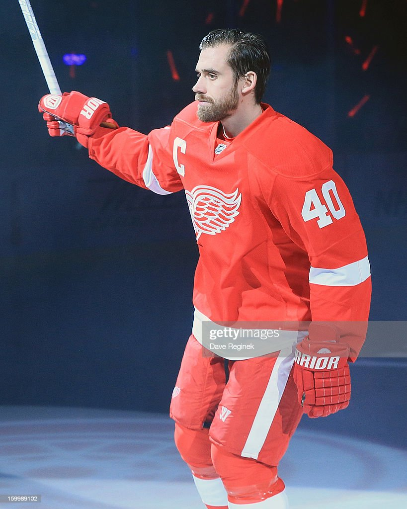 Henrik Zetterberg #40 of the Detroit Red Wings is introduced in pre-game ceramonies before an NHL game against the Dallas Stars at Joe Louis Arena on January 22, 2013 in Detroit, Michigan. Dallas won 2-1