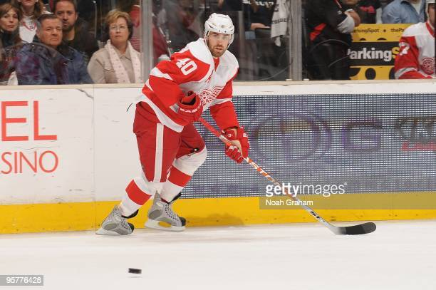 Henrik Zetterberg of the Detroit Red Wings looks to get a pass against the Los Angeles Kings on January 7 2010 at Staples Center in Los Angeles...