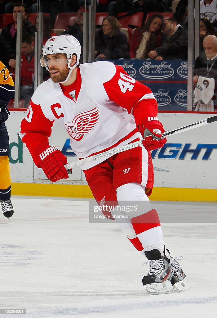 Henrik Zetterberg #40 of the Detroit Red Wings skates against the Nashville Predators during a game at Joe Louis Arena on February 23, 2013 in Detroit, Michigan. Detroit won the game 4-0.