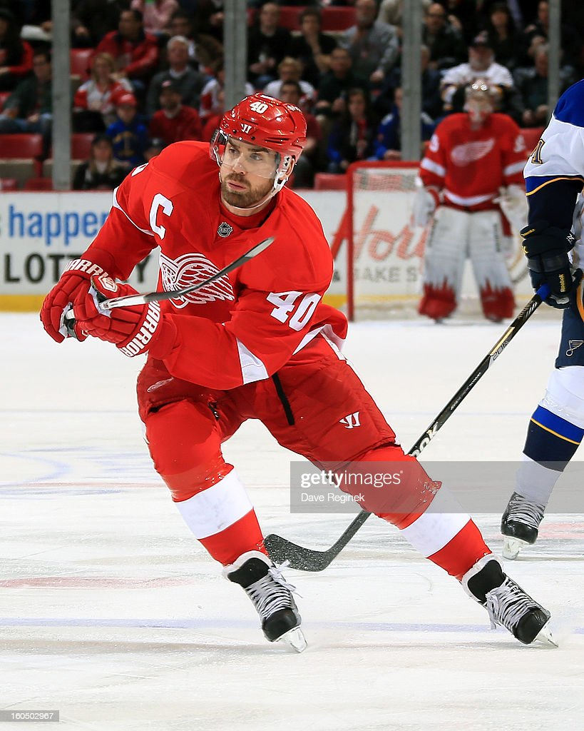 <a gi-track='captionPersonalityLinkClicked' href=/galleries/search?phrase=Henrik+Zetterberg&family=editorial&specificpeople=201520 ng-click='$event.stopPropagation()'>Henrik Zetterberg</a> #40 of the Detroit Red Wings skates up ice during a NHL game against the St Louis Blues at Joe Louis Arena on February 1, 2013 in Detroit, Michigan. Detroit defeated St Louis 5-3.