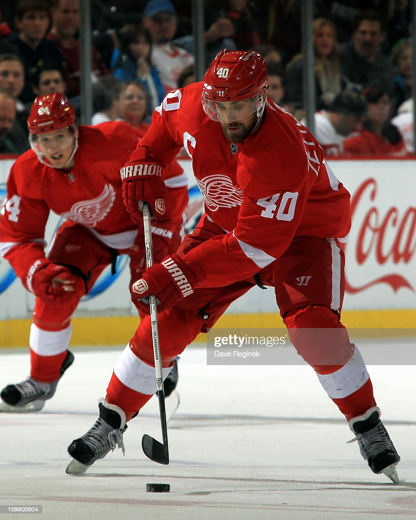 <a gi-track='captionPersonalityLinkClicked' href=/galleries/search?phrase=Henrik+Zetterberg&family=editorial&specificpeople=201520 ng-click='$event.stopPropagation()'>Henrik Zetterberg</a> #40 of the Detroit Red Wings skates with the puck during a NHL game against the Dallas Stars at Joe Louis Arena on January 22, 2013 in Detroit, Michigan.