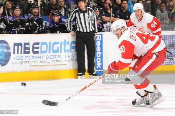 Henrik Zetterberg of the Detroit Red Wings skates with the puck against the Los Angeles Kings on January 7 2010 at Staples Center in Los Angeles...