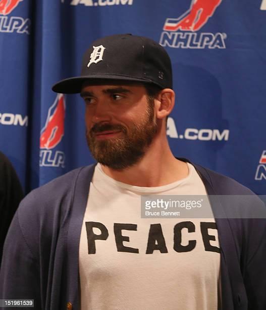 Henrik Zetterberg of the Detroit Red Wings speaks with the media following the NHLPA meeting at Marriott Marquis Times Square on September 13 2012 in...