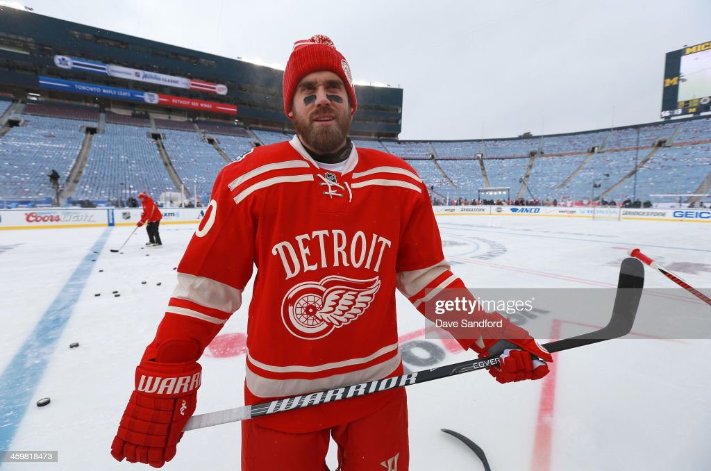 <a gi-track='captionPersonalityLinkClicked' href=/galleries/search?phrase=Henrik+Zetterberg&family=editorial&specificpeople=201520 ng-click='$event.stopPropagation()'>Henrik Zetterberg</a> #40 of the Detroit Red Wings takes the ice during the 2014 Bridgestone NHL Winter Classic team practice session on December 31, 2013 at Michigan Stadium in Ann Arbor, Michigan.