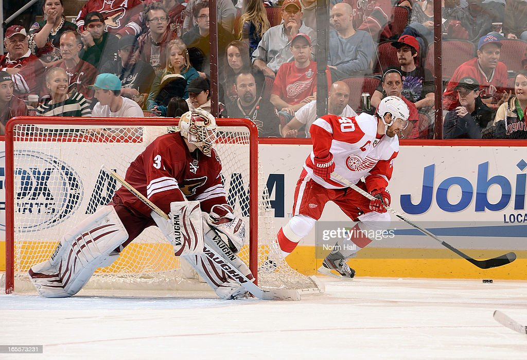 <a gi-track='captionPersonalityLinkClicked' href=/galleries/search?phrase=Henrik+Zetterberg&family=editorial&specificpeople=201520 ng-click='$event.stopPropagation()'>Henrik Zetterberg</a> #40 of the Detroit Red Wings works the puck behind goaltender Chad Johnson #31 of the Phoenix Coyotes during the third period at Jobing.com Arena on April 4, 2013 in Glendale, Arizona.