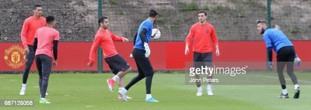Henrikh Mkhitaryan and Matteo Darmian of Manchester United in action during a first team training session ahead of the UEFA Europa League Final at...